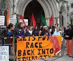 Southall Black Sisters protest outside the Royal Courts of Justice. Photo by Helen Lowe.