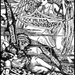 1885 image by Walter Crane shows female angel of Socialism coming to the rescue of labouring man laid low by by religious hypocrisy, capitalism, and party politics