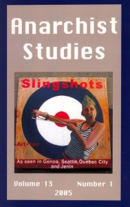 Journal cover for Anarchist Studies 13