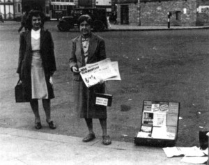 Lilian Wolfe selling War Commentary in 1945, with Marie Louise Berneri.
