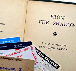 Judy Greenway's library cards and title page of Elizabeth Gibson book