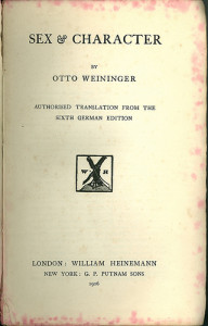 title page of the first english translation of Sex and Character, 1906
