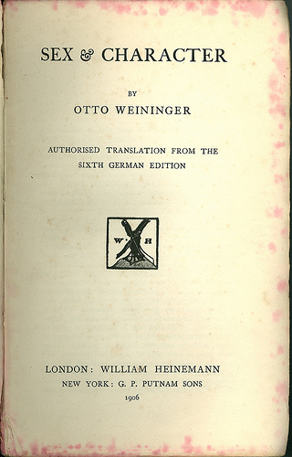 Sex and character otto weininger
