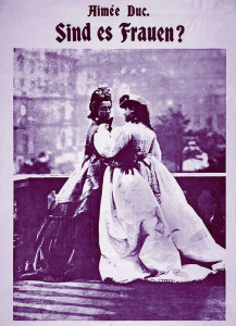 Two women in nineteenth century costume in affectionate pose. image adapted from 1970s poster advertising Aimee Duc's 1903 novel about the 'Third Sex'