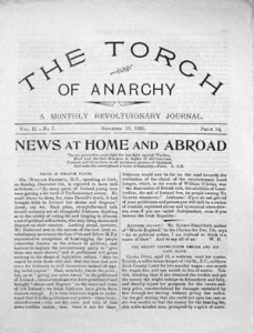 Front page of an issue of The Torch of Anarchy, A Monthly Revolutionary Journal.